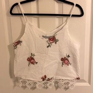 Rose embroidered cropped tank